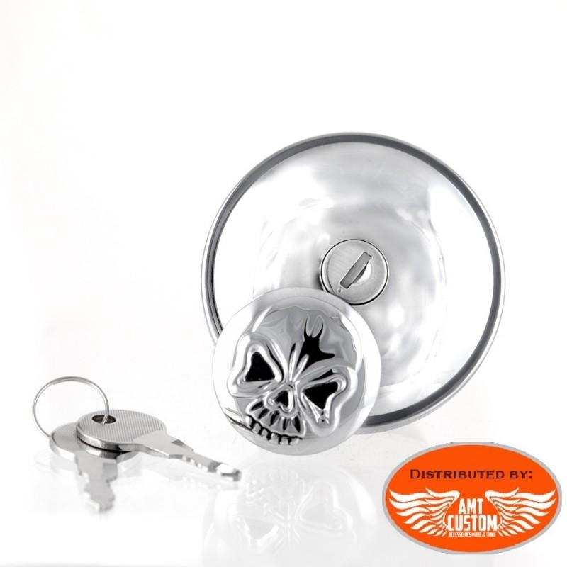 Bouchon réservoir à clés Skull Chrome moto pour Harley Davidson de 1996 à aujourd'hui