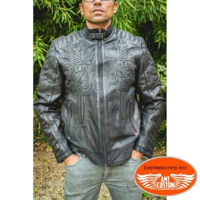 Vintage leather Biker jacket biker motorcycle