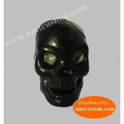 2 Valve Caps Black Skull.
