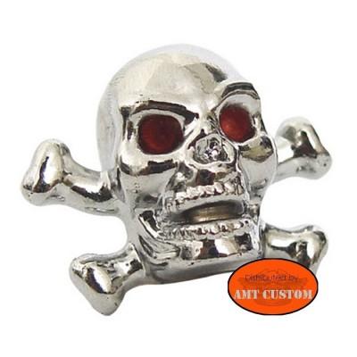 2 Bouchons valve Tête de mort Skull Bones Chrome