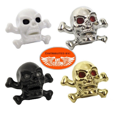 2 Chrome or black Skull bones Valve Caps.