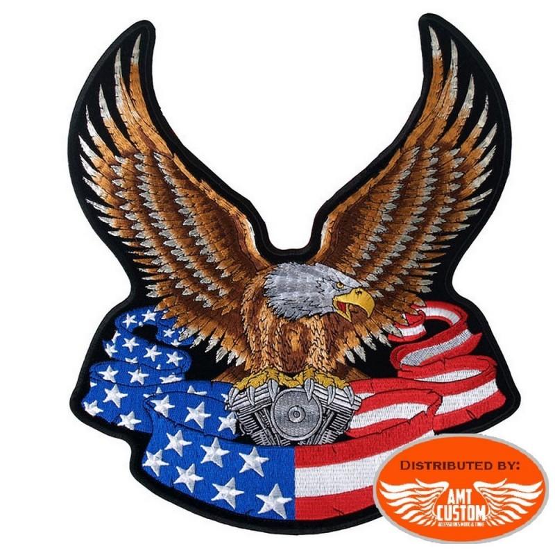 Ecusson Patch Aigle Vtwin et banière US américain