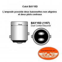 Dimensions Ampoule Stop 9 Led blanches 12V DC - 1157/BAY15 Feu arrière Moto