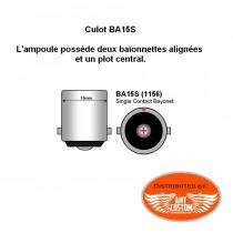 Dimensions Ampoule clignotant Orange simple filament 12V DC - BA15S