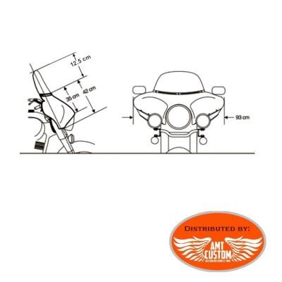 """Dimensions """"Nez de Cochon"""" Pare-brise noir Shadow VT750C Aéro, VT1300, VTX1800"""