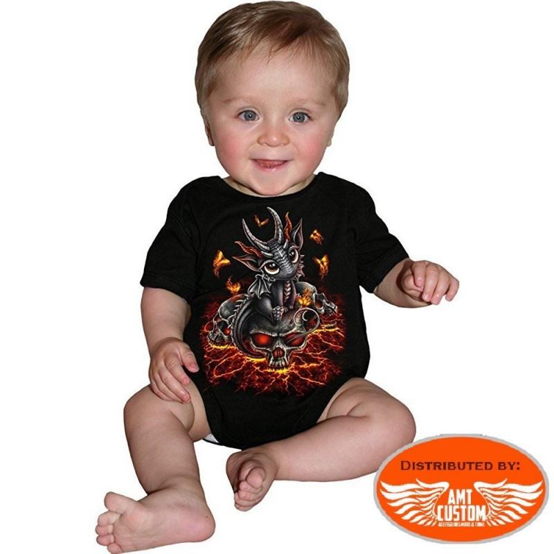 Bodysuit Baby Biker Dragon & Skull.